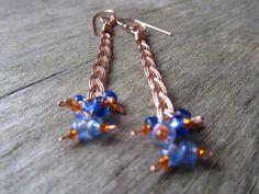 Copper wire braided earrings blue earrings by PixiesForest