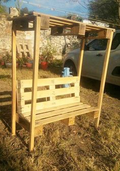 Pallet Bench with Shelter - 125 Awesome DIY Pallet Furniture Ideas | 101 Pallet Ideas - Part 3