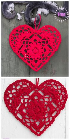 Crochet Amigurumi Patterns Christmas Crochet Home Is Where Heart Ornament Free Patterns - Christmas Crochet Heart Ornament Free Patterns Crochet Christmas Decorations, Crochet Decoration, Christmas Crochet Patterns, Holiday Crochet, Crochet Home, Crochet Crafts, Crochet Projects, Crochet Owls, Heart Decorations