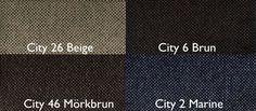 City 26 Beige / City 6 Brun / City 46 Mörkbrun / City 2 Marine Från LC Möbler City 26 Beige / City 6 Brown / City 46 Dark Brown / City 2 Marine From LC Furniture