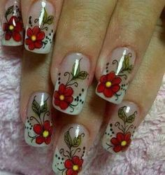 Rojo Colorful Nail Designs, Nail Art Designs, Pedicure Nails, Manicure, Linda Nails, Animal Nail Art, Xmas Nails, Gold Eyes, Flower Nails