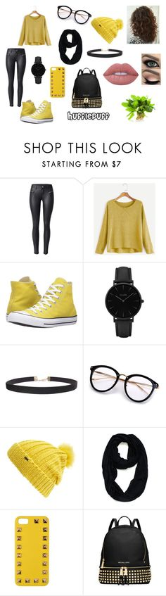 """""""Proud HufflePuff"""" by lilyscarrlettx on Polyvore featuring Converse, CLUSE, Humble Chic, Maison Scotch, Le Nom, Valentino, MICHAEL Michael Kors, Lime Crime and harrypotter"""