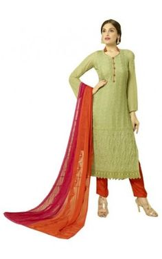8396367e55c Cream Embroidered Cotton Semi Stiched Party Wear Salwar Suit with Dupatta.