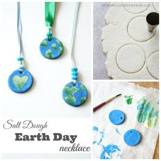 Make, bake and paint an Earth Day necklace to celebrate Earth Day everyday. A simple salt dough recipe and necklace tutorial. Earth Craft, Earth Day Crafts, Earth Day Activities, Activities For Kids, Salt Dough Jewelry, Earth Day Information, Astronomy Crafts, Preschool Crafts, Crafts For Kids
