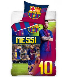 This FC Barcelona Messi 10 Single Duvet Cover Set has a 2 in 1 reversible design. Free UK delivery available. Football Bedding, Football Bedroom, Duvet Cover Sizes, Duvet Covers, Messi 10, Lionel Messi, Single Duvet Cover, Striped Background, Sports