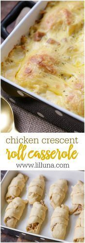 Chicken Crescent Roll Casserole - rotisserie chicken and cheddar cheese baked inside crescent rolls, and combined with a cream of chicken soup mixture for the ultimate casserole dish! The whole family will love this recipe!