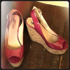 Hot pink platform slingback wedges Steve Madden Super cute Steve Madden platform wedges in hot pink!  The heel is 5 inches and the foot platform is 2 inches.  These match the Free People dress I have listed perfectly!  EUC Steve Madden Shoes Platforms
