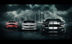 Muscle cars: Dodge Challenger, Chevrolet Camaro and Ford Mustang Ford Mustang Shelby, Mustang Saleen, Mustang Cobra, Shelby Gt500, Mustang Girl, Ac Cobra, Wallpaper Cars, Mustang Wallpaper, Car Wallpapers