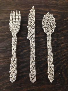 Gray Silverware Nail and String Art Home by alimorriscreations