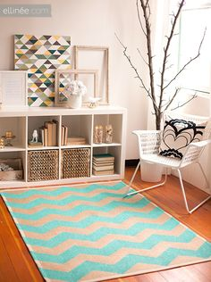 IKEA Kallax shelves and shelving units are the best canvas for creating! Kallax shelves are so universal that you can get almost anything from them . Ikea Expedit Shelf, Ikea Bookcase, Etagere Cube, Ikea Kallax Regal, Chevron Rugs, Blue Chevron, Diy Home Decor, Room Decor, Wall Decor
