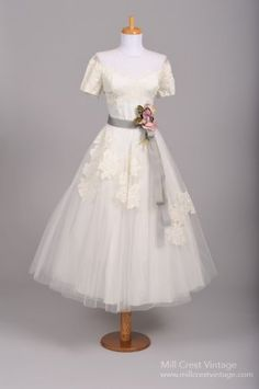 Can't Afford It/Get Over It: Vintage 1950s Inspired Tea Length Wedding Gown