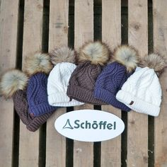 NEW from Schoffel - the 'Tenies' ribbed knit hat with faux fur pom pom and microfleece interior headband liner. In store and online - www.elmofburford.com