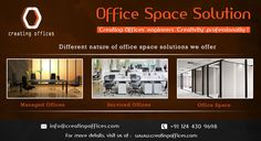 Choose office space solutions with ‪#‎CreatingOffices‬ to accomplish your business needs. Get tailor-made office solutions including ‪#‎fullymanagedofficespace‬ and serviced offices that are professionally designed, affordable and fully-furnished..!!