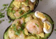 Stuffed Avocado with Garlic Shrimp Recipe -  Yummy this dish is very delicous. Let's make Stuffed Avocado with Garlic Shrimp in your home!