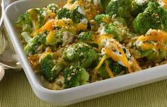Broccoli gets a makeover with rice, cheese and sour cream. Warm up a cold winter night with this comfort food, hot from the oven to the table. Quick Salmon Recipes, Dinner Recipes Easy Quick, Easy Meals, Simple Recipes, Broccoli Rice Casserole, Casserole Recipes, Casserole Dishes, Heart Healthy Recipes, Healthy Side Dishes