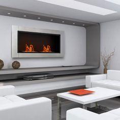 Biocamino bioetanolo design moderno muro tavolo inox arredamento casa MANHATTAN