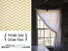 Metallic Gold Chevron Zig Zag Stripes  by PrimalVogueHomeDecor