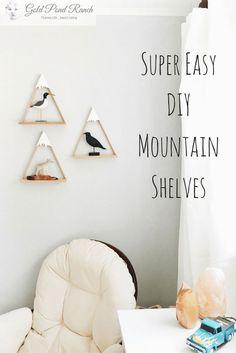 DIY ideas, nursery decor, woodland theme, snow peaked mountain, diy shelves, mountain shelves, nursery shelves