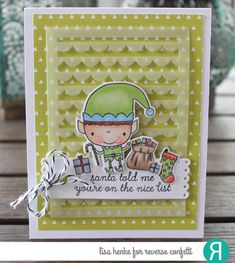Card by Lisa Henke. Reverse Confetti stamp set: Christmas Cheer. Confetti Cuts: Christmas Cheer, Scallop Stripe Panel, and Tall Tags. RC 6x6 paper pad: Cheerful & Kind. Christmas Card. Holiday card.