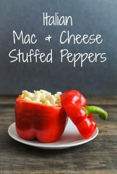 Italian Mac & Cheese Stuffed Peppers - Creamy pasta with lots of cheese and herbs stuffed into red peppers and roasted. by myboy