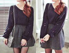 #kfashion #korean #fashion #skirt #knittedsweater #knitted #sweater