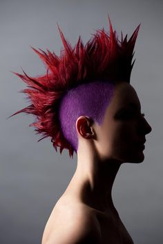 New Hair Color Crazy Short Funky Hairstyles Ideas Hair Color Purple, Cool Hair Color, Red Purple, Hair Colors, Mohawk Hairstyles, Trendy Hairstyles, Funky Short Hair, Short Hair Styles, Hair Color Highlights