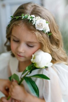 Elise would like with smaller white flowers and bit of green all around. Flower Girl Headpiece, Flower Girl Headbands, Floral Headpiece, Flower Girl Dresses, White Flower Crown, Baby Flower Crown, Flower Crown Wedding, Blush Flowers, Flowers In Hair