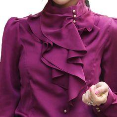 Vobaga Women's Clothes Waterfall Ruffle Front Detail Neck Top Shirt Blouse Dark Purple-s
