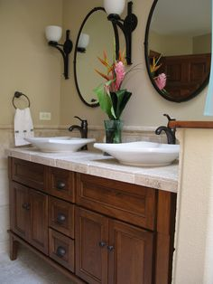 The design of brown color vanity can you combine with white color of countertop like this example. Description from pldhs.com. I searched for this on bing.com/images