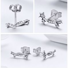 0e1f61231 BAMOER Authentic 925 Sterling Silver Elegant Shining Meteor Star Clear CZ Stud  Earrings for Women Silver Earrings Jewelry SCE442