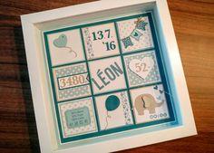 Personalisierter Bilderrahmen (Ribba) zur Geburt eines Jungen (hellblau, türkis, petrol, grau, Herz, Elefant, Ikea, Stampin Up)
