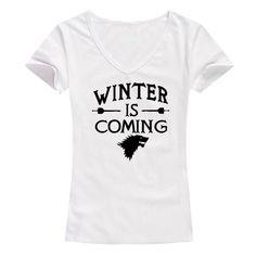 Funny Game Winter is Coming Women T Shirt Game of Thrones Female Tee shirt Tops short sleeve Women Tees V neck girls t shirts Instanations.com #instafashion #instagood #instanations #selfie #selfies #selfiestick
