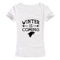 Funny Game Winter is Coming Women T Shirt Game of Thrones Female Tee shirt Tops short sleeve Women Tees V neck girls t shirts Instanations.com #instafashion #instagood #instanations #selfie #selfies #selfiestick