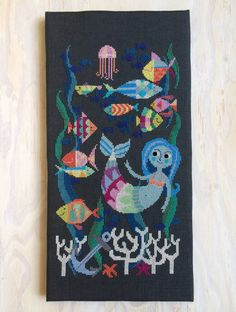 Mermaid Lagoon modern cross stitch pattern PDF от SatsumaStreet