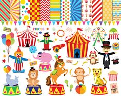 56 Circus clipart , circus clip art ,clowns clipart , circus printable , circus images , lion elephants monkey tiger Ferris wheel clipart by JaneJoArt on Etsy https://www.etsy.com/uk/listing/248193016/56-circus-clipart-circus-clip-art-clowns
