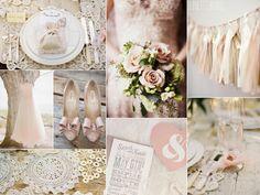 Blush shabby chic wedding inspiration with crochet ideas