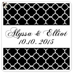 60 Wedding Stickers, 2 Inch Square, Black And White Wedding Labels,  Quatrafoil Design