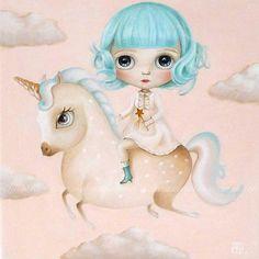 The Unicorn Dream, Unicorn ART PRINT, pop surrealism art, low brow, big eyed , unicorn art, unicorn rider flying mint hair, Unicorn Wall Art