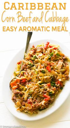 Caribbean Corn Beef and Cabbage - Immaculate Bites Jamaican Cabbage, Corn Beef And Cabbage, Fried Cabbage, Cabbage Recipes, Pepper Recipes, Canned Corned Beef, Corned Beef Hash, Corned Beef Recipes, Jamaican Dishes