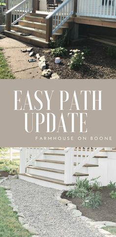 How to update a cracked sidewalk with a simple DIY pebble path easy sidewalk update #renovation #curbappeal #farmhouseonboone #farmhouseporch #farmhousestyle #diyproject