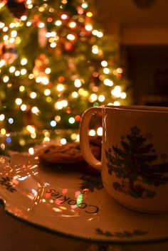 Hot Chocolate and Cookies by theTree!! :)...I can't wait for Christmas Eve!