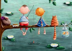 Fishing by elinaellis on Etsy, £10.00