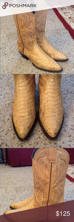 TONY LAMA TAN PYTHON LEATHER COWBOY BOOTS, AMAZING Tony LAMA sz 7 tan Python cowboy boots.  Excellent condition!  Amazing boots!  Will ship right away.  Check out my other designer items Tony Lama Shoes Combat & Moto Boots