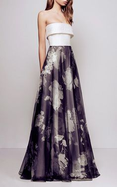 Amelie Floral Organza Silk Reptile Strapless Gown