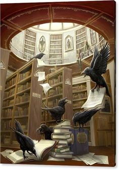 Rob Carlos - Ravens in the Library Print  Repinned by www.elleryadamsmysteries.com
