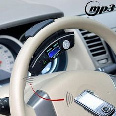 [USD36.45] [EUR34.40] [GBP26.77] 4 in 1 (Car MP3 + Bluetooth HandsFree + Wireless Headsets + LCD Display ) Car Steering Wheel, Support TF Card (500)