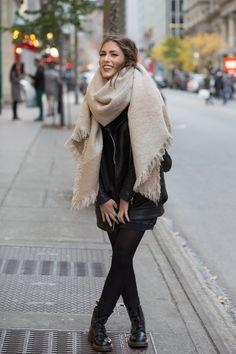 "I loooove big scarfs! !   mihmic: ""strtjournal: ""Street Style Downtown | Montreal, Canada STRTJournal.com"