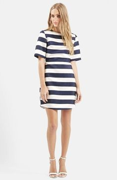 Free shipping and returns on Topshop Twill & Satin Stripe Dress at Nordstrom.com. Interspersed satin and twill stripes create a classically nautical look for a short-sleeve dress with a flattering, nipped-in waist and an A-line skirt.