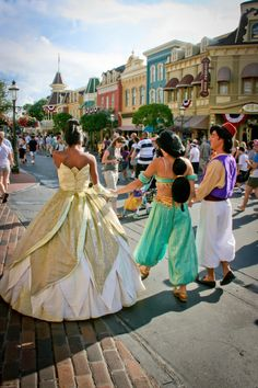 Tiana, Jasmine, and Aladdin
