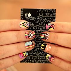 tribal nail art! Love Nails, How To Do Nails, Pretty Nails, Fun Nails, Style Nails, Crazy Nails, Sexy Nails, Hair Beauty, Beauty Nails